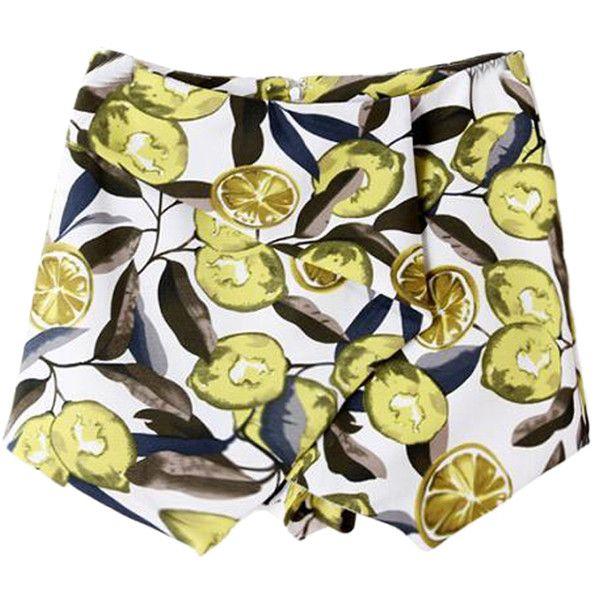 Lemon Print Skorts With Asymetric Hem ($25) ❤ liked on Polyvore featuring layered skirt, lemon print skirt, yellow skirt, golf skirts and zipper skirt