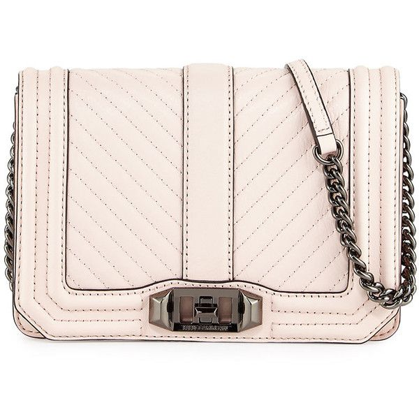 Rebecca Minkoff Love Chevron Quilted Small Clutch Bag (360 BGN) ❤ liked on Polyvore featuring bags, handbags, clutches, pink, leather handbags, leather clutches, leather flap handbags, chevron purses and genuine leather purse