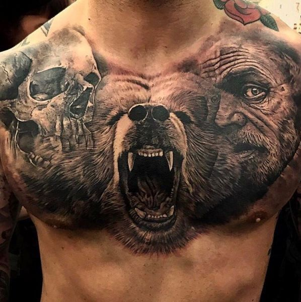 Chest Bear, Skull Tattoo For Guys