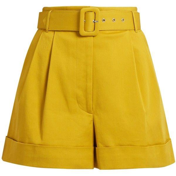 Isa Arfen Safari high-waist cotton-twill shorts ($405) ❤ liked on Polyvore featuring shorts, short, safari shorts, high waisted shorts, high rise shorts, metallic shorts and short shorts