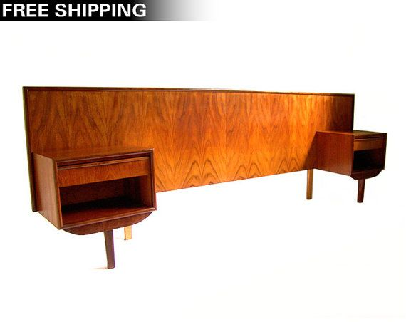 Vintage Danish Modern Teak Headboard Queen Headboard Pair Of Nightstands Mid Century Modern