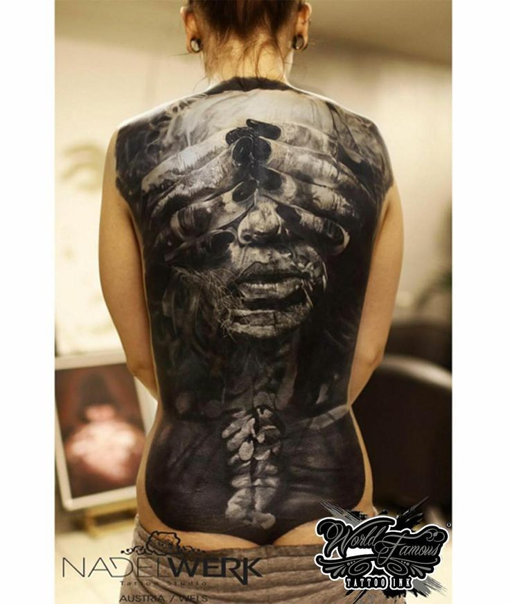 Amazing huge black and grey back tattoo great work by