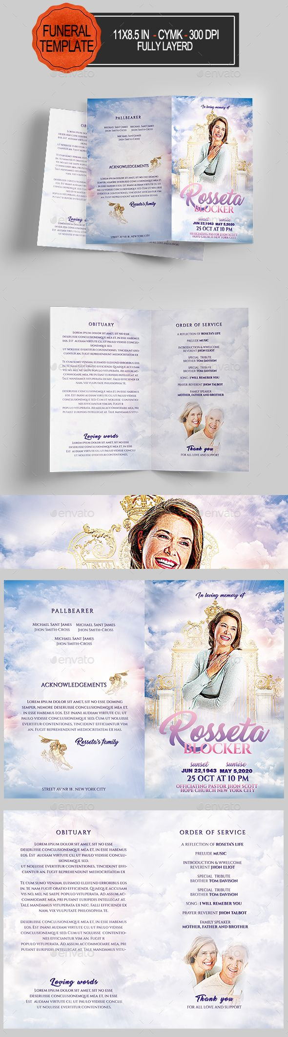 Funeral Program Template — Photoshop PSD #funeral #mother • Available here → https://graphicriver.net/item/funeral-program-template/20634188?ref=pxcr