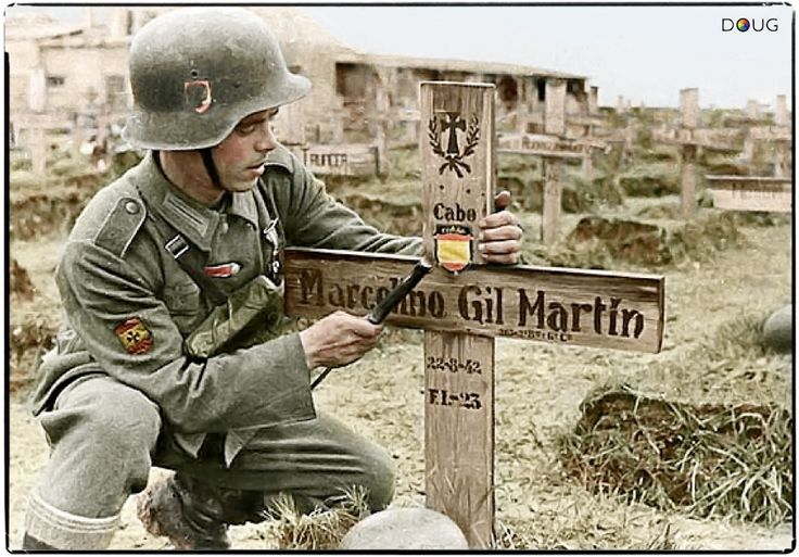Wehrmacht Spanish Volunteers, a fallen Spanish soldier's grave - The Spanish fascist government allowed volunteers to enlist in the Nazi army, but Franco kept Spain out of the war generally and ensured his regime continued until his own death, well after WW2 ended.: