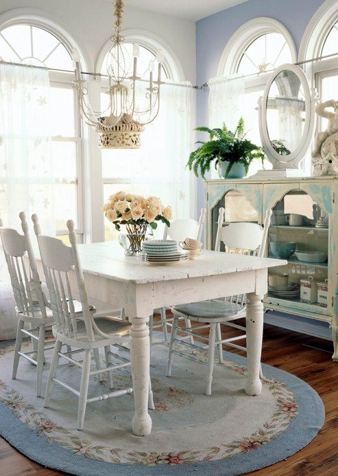 cottage style blue and white indoor beauties dining room