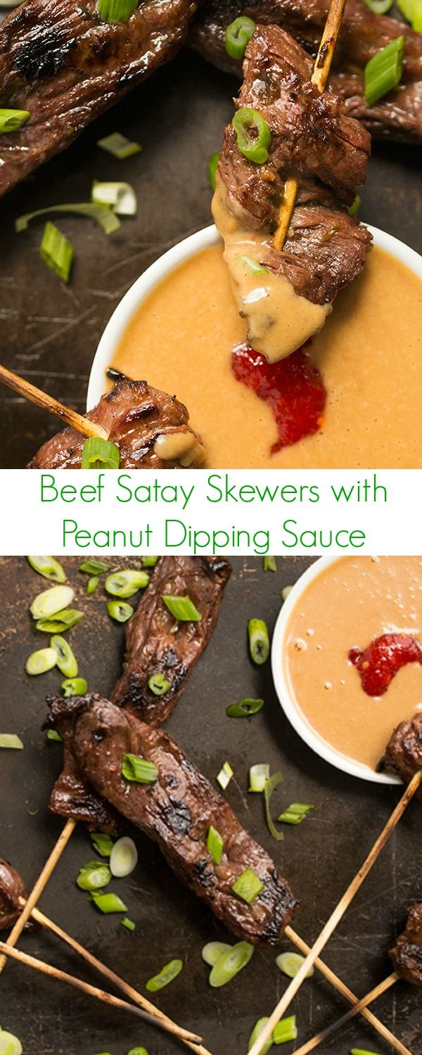 These mouth-watering Thai Beef Satay Skewers are tangy, slightly spicy and perfectly balanced with a cool and creamy peanut dipping sauce.