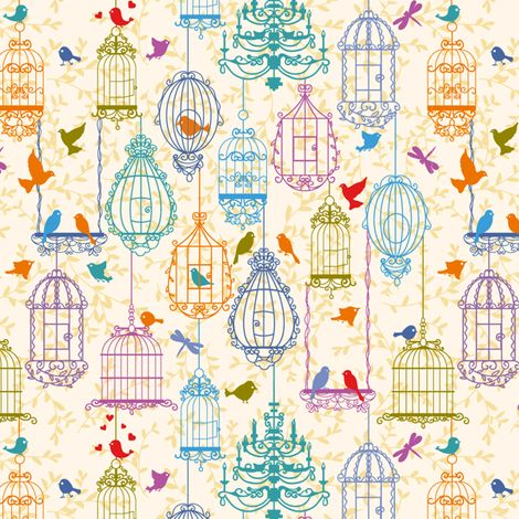 Birds and cages vintage pattern warm colors yaskii for Bird nursery fabric