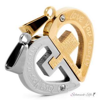 Partner Ketten Herz LOVE YOU REALLY mit Kreuz  Gold...