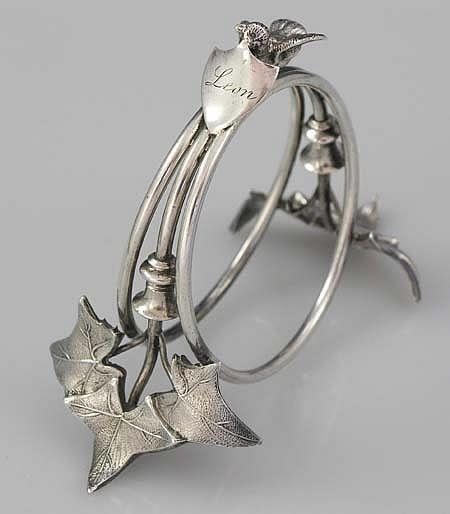 """Gorham Ivy Motif Napkin Ring Circa 1870 - engraved """"Leon"""""""