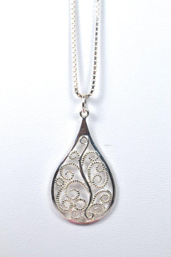 Sterling Silver Fancy Filigree Necklace by RomanceinSilverAH,