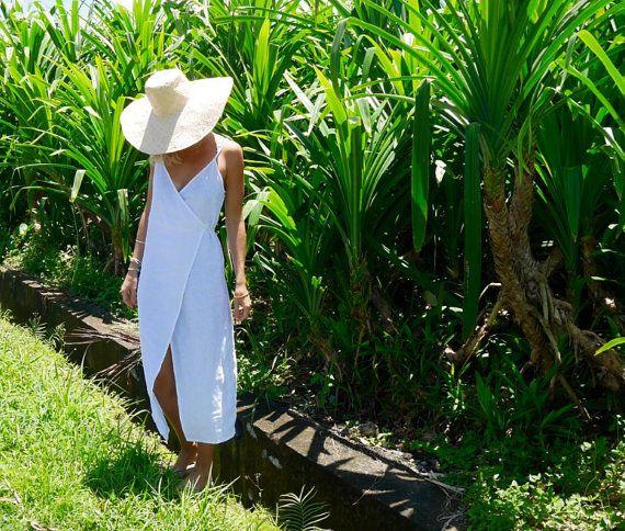 Wrap Dress - White Linen Wrap around Dress, Beach Dress, Ladies Fashion