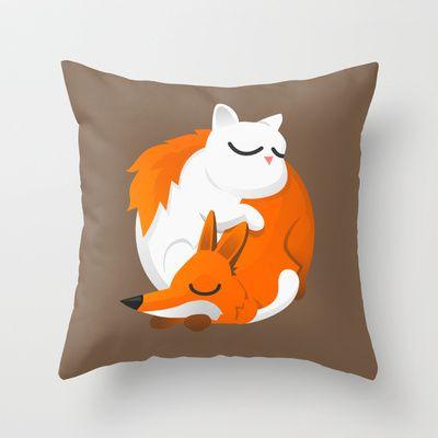 Fox and cat Throw Pillow by Pesto design - $20.00  http://www.pestodesign.com/