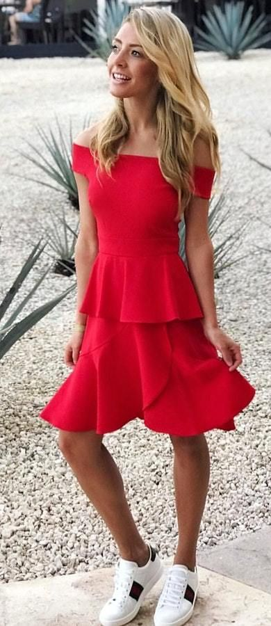 fbefe889f3c White Sneakers + Open Shoulder Red Dress A Cute Women s Outfits To Wear  This Summer.