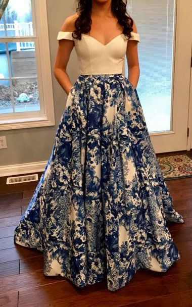 2 Piece Blue Printed Cap Sleeve 51680 Sweetheart Prom Dress 2018