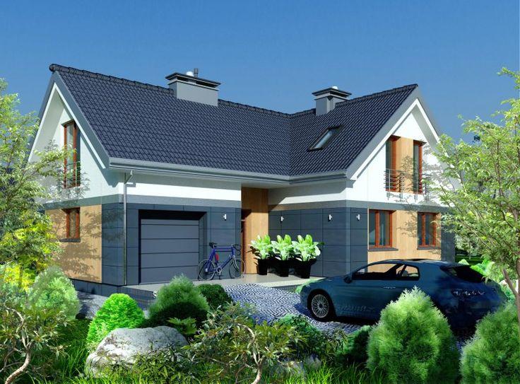 To dom wolnostojący o zwartej, prostej bryle i dwuspadowym dachu.