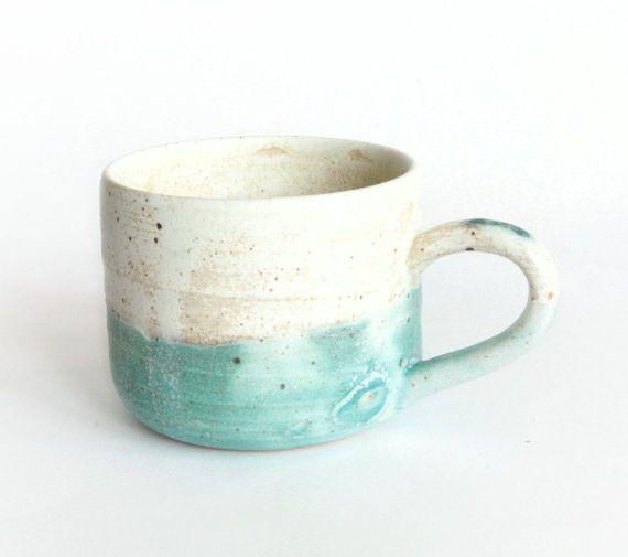 Turquoise and Beige Mug Handmade ceramics by RzucidloCeramics