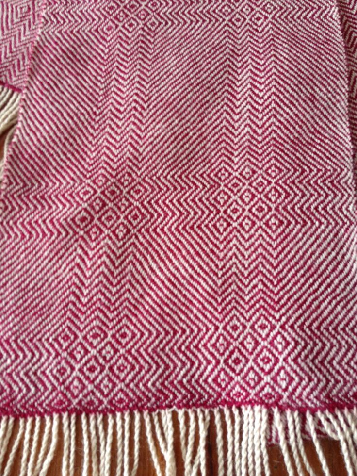 My scarf woven on a 4 sharft table loom with Bendigo 2ply 100% Australian wool.