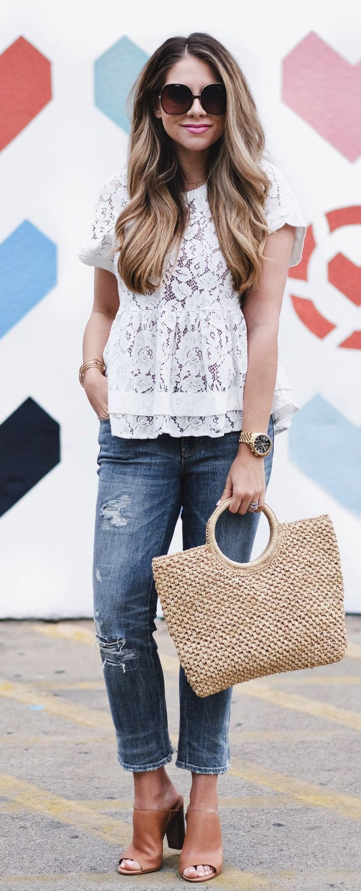 #spring #outfits White Lace Top & Ripped Skinny Jeans & Nude Leather Booties