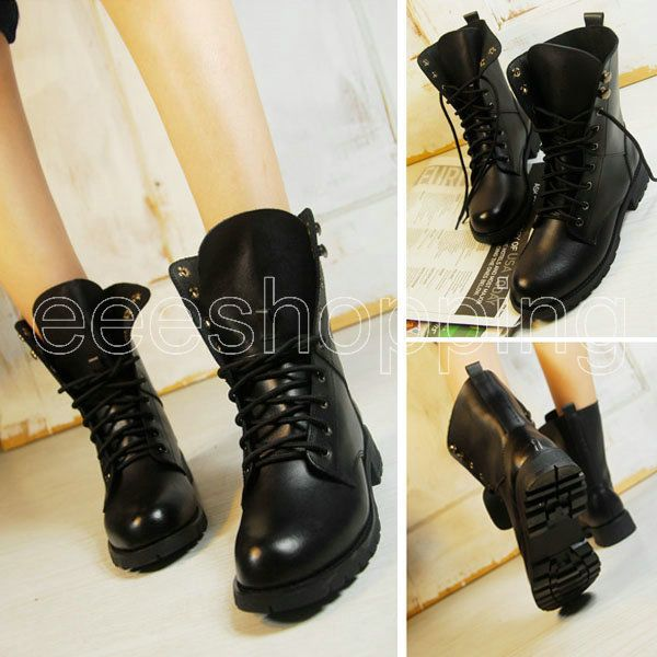 New Women Lady Cool Black Boots-Work Short Boots Military Boots Lace-UP Sz:35-42