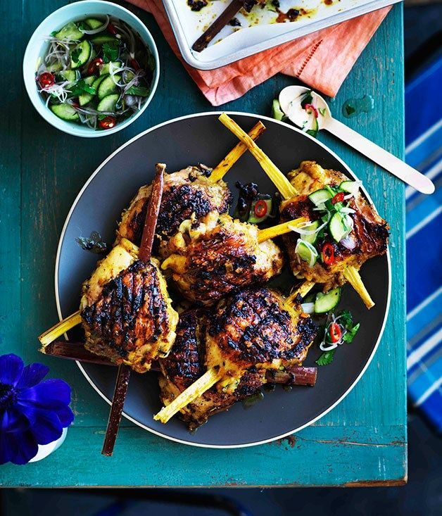 Turmeric and lemongrass chicken on sugarcane (you can do this recipe with light sugar or sugarless)