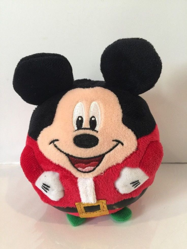 "Mickey Mouse Ty Beanie Ballz 6"" Disney Christmas Santa Bean Stuffed Plush Ball  