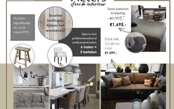 Groots woon event leuke #korting op #meubelen. #bed #bank #krukje en #eetkamerstoelen. 23-24-25 mei tijdens het #pinksterweekend. bij www.pieterszevenbergen.nl