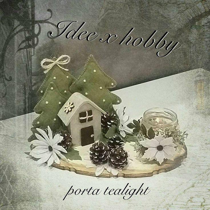 Paesaggio feltro con porta tealight. https://www.facebook.com/Idee-x-hobby-handmade-658828837558633/