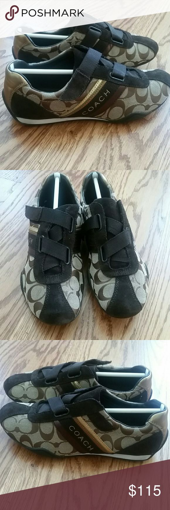 Coach tennis shoes Beautiful authentic Coach tennis shoes. Worn maybe once. No box, sorry! Coach Shoes Sneakers