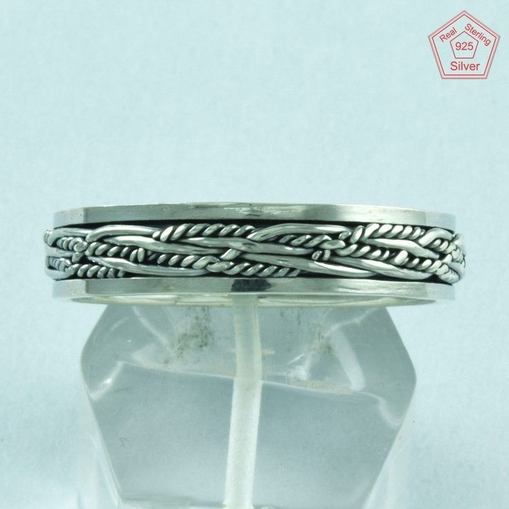 Curve Designer 925 Sterling Silver Spinner Ring S.13 US R2720…