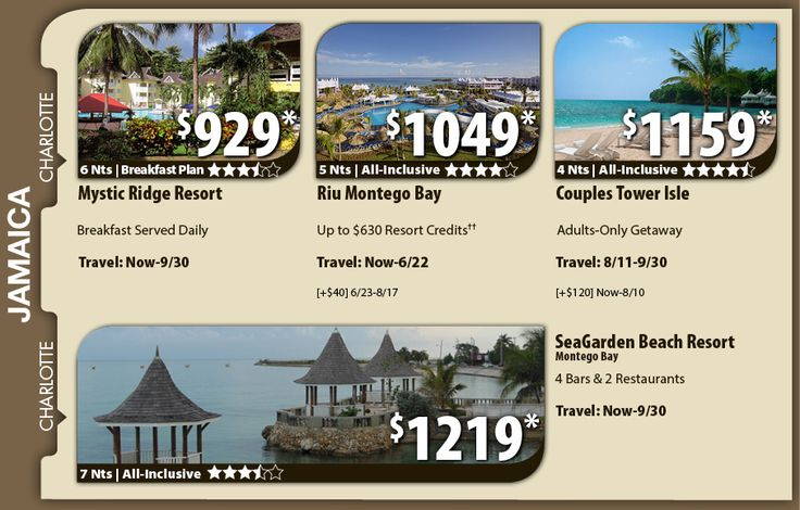 Jamaica Vacation Specials with Air from Charlotte