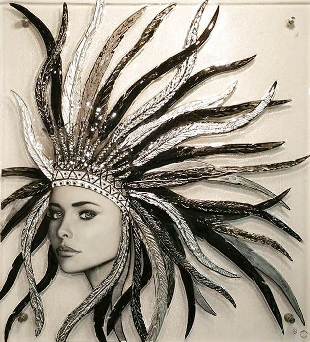 """""""Amazonian Collaboration""""  SOLD Painted portrait resined onto slumped glass. Hand painted head piece. Glass Xpressions Art Gallery, Gold Coast, Australia"""