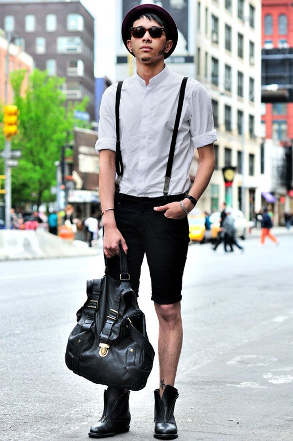 NYC by Monsieur Jerome. Chris C. (24 - Visual merch) wears shirt by Zara, suspender by Diesel, short by Levi's, vintage boots, bag by Banana Republic and vintage hat.
