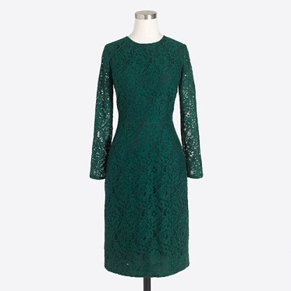 J. Crew Factory Long-Sleeve Lace Dress (f7506)   Color: Academic Green