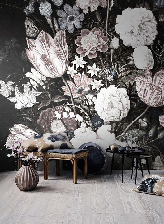 dodatki - dekoracje - inne-Tapeta Malowane Kwiaty Vintage- 360x250cm