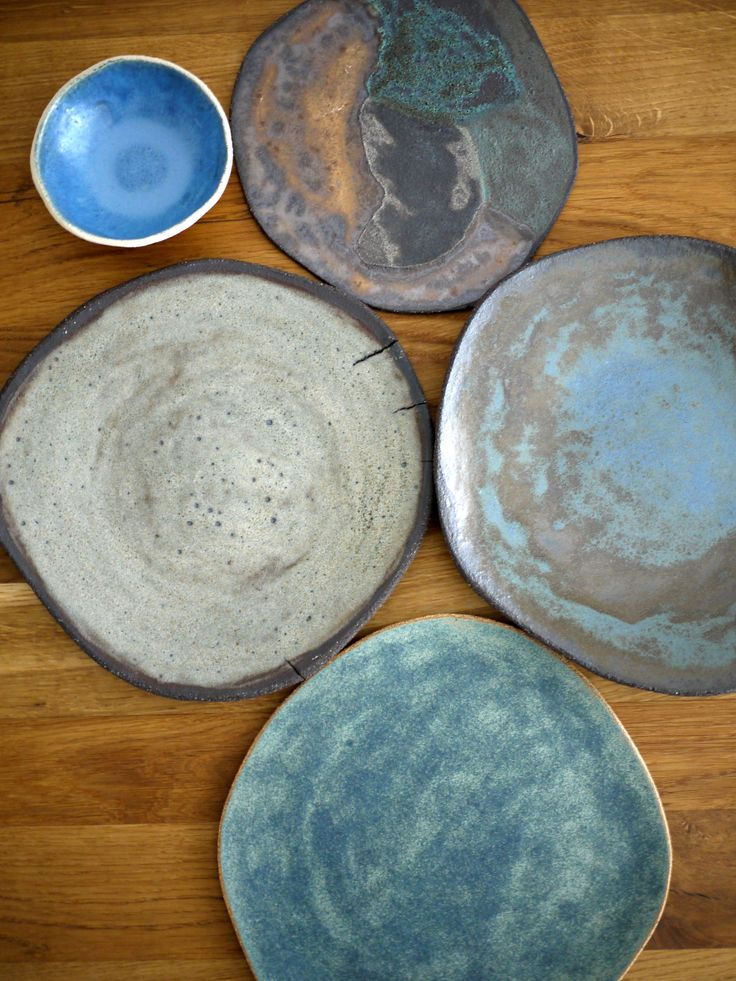 ceramic handmade plates, bowls, rusty blue, green grey colours
