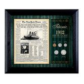 Found it at Wayfair - New York Times Titanic 1912 U.S. Mint Coin Wall Framed Memorabilia - 5 Coins