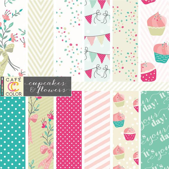 Birthday cupcake digital paper in fuchsia hot pink, mint, baby pink and olive green. Flowers, cupcakes, bunting, confetti, text, polka dot.
