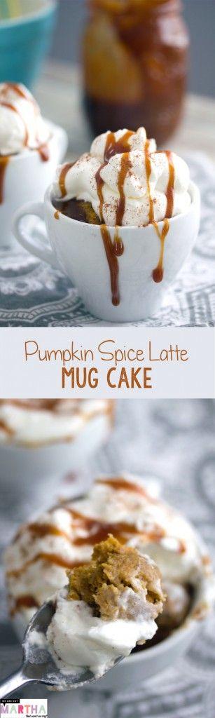 Pumpkin Spice Latte Mug Cake -- A seasonal dessert that takes just a minute to bake! | wearenotmartha.com