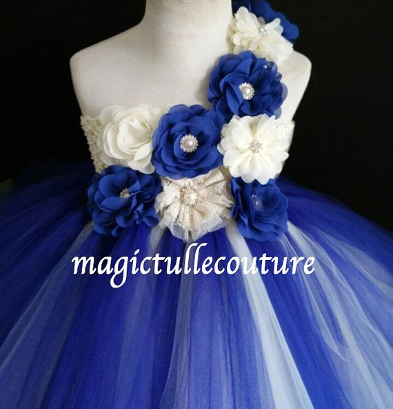 Ivory and Royal blue flower girl tutu dress by MagicTulleCouture