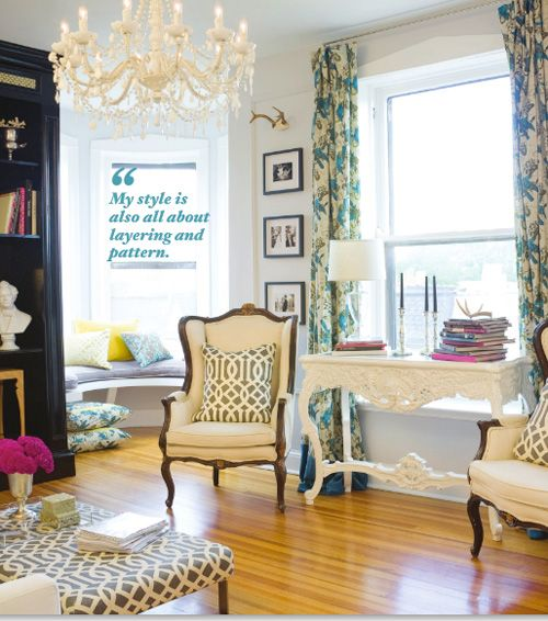 I must be really tired because I don't totally hate this pull quote in the middle of the frame. Please! Convince me otherwise! Adore magazine - living room: Interior Design, Adore E Mag, Living Rooms, Livingrooms, Living Spaces, Cozy Chairs, Color Patterns, Side Chairs