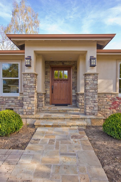 17 best ideas about craftsman style front doors on for Craftsman homes with stone