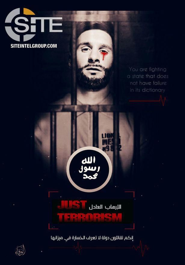ISIS releases sick poster of Messi crying blood in captivity in Russia World Cup 2018 threat
