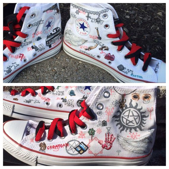Supernatural themed custom Chuck Taylor Converse by danisalerno