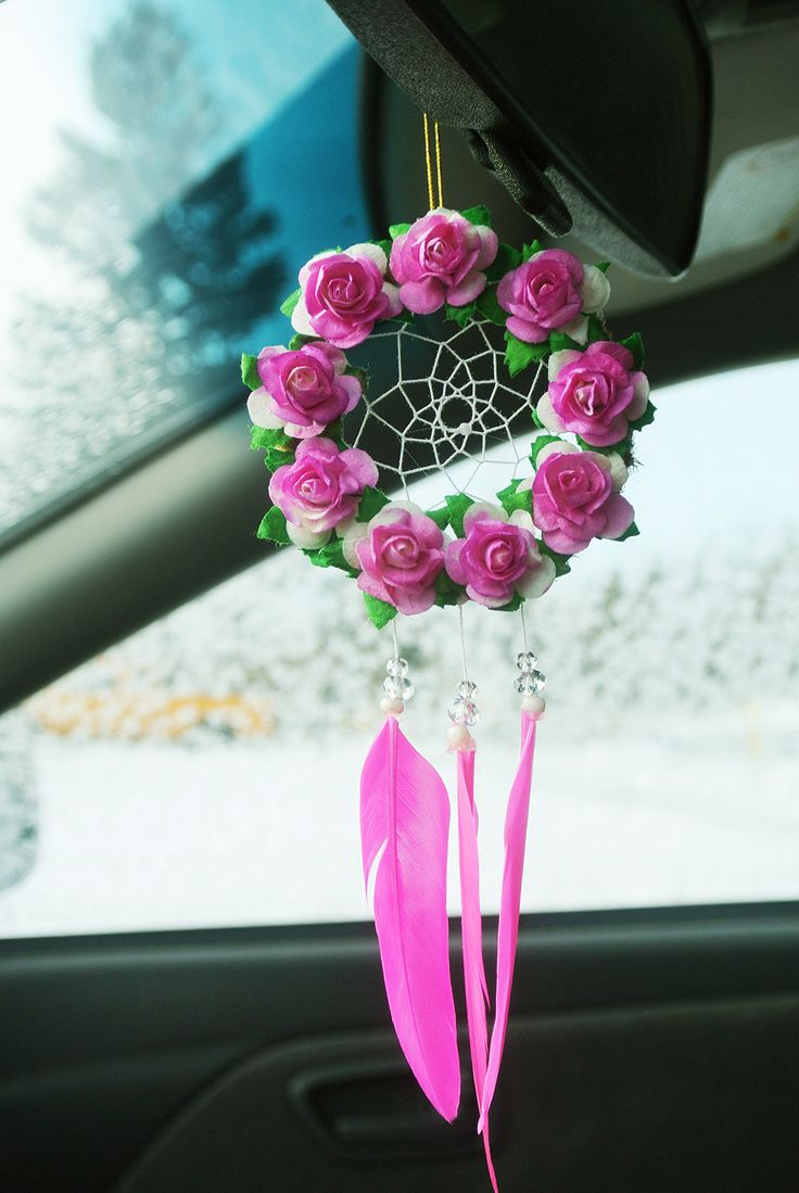 Items Similar To Hot Pink Flower Dreamcatcher Rearview Mirror Car Accessory Small Valentine S Day Gift Decoration