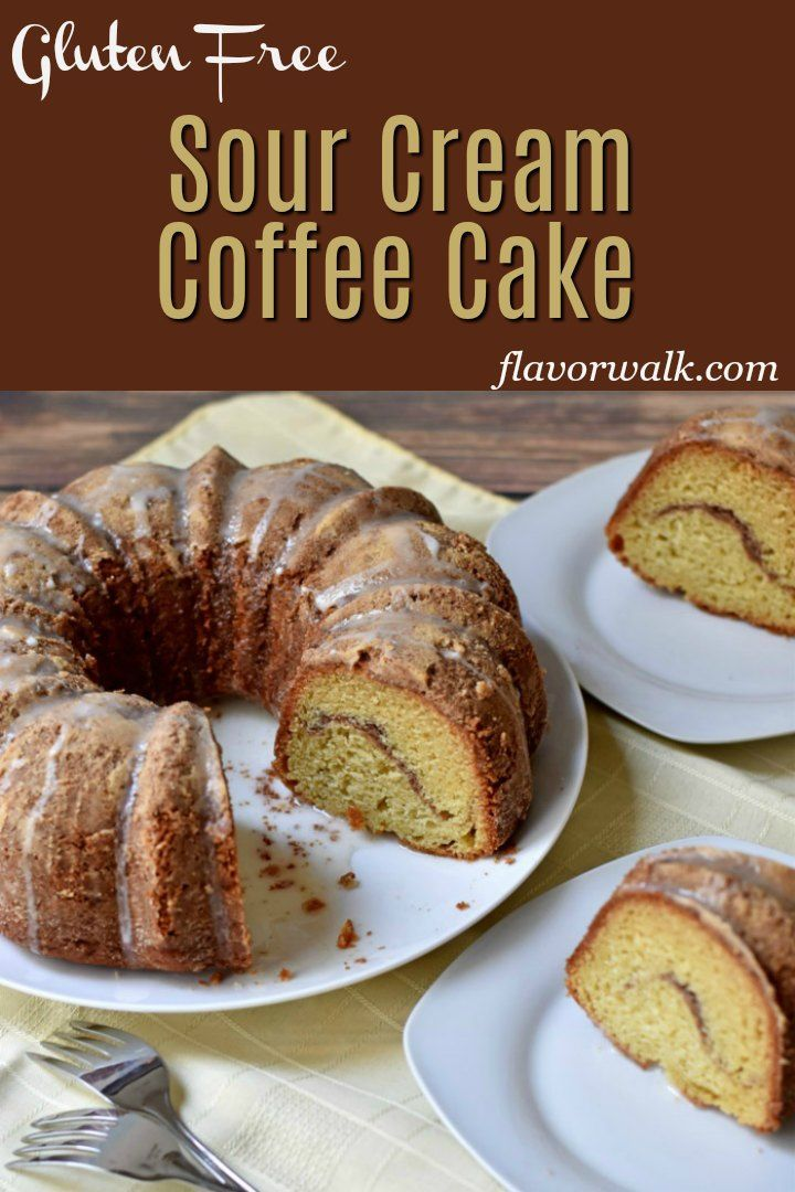 This Sour Cream Coffee Cake Recipe Topped With A Delicate Glaze Is So Light And Ref Gluten Free Coffee Cake Gluten Free Coffee Cake Recipe Gluten Free Coffee