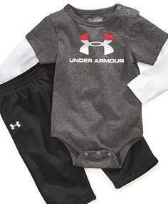 OMG! OMG. My love for Under Armour will now be extended to baby Jackson! Under Armour Baby Set, Baby Boys Bodysuit and Pants Set | best stuff