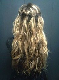 Long loose curls with a waterfall braid. ♥