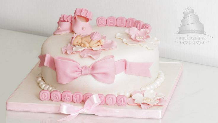 Dåpskake Jente Christening cake with big bow and shoes