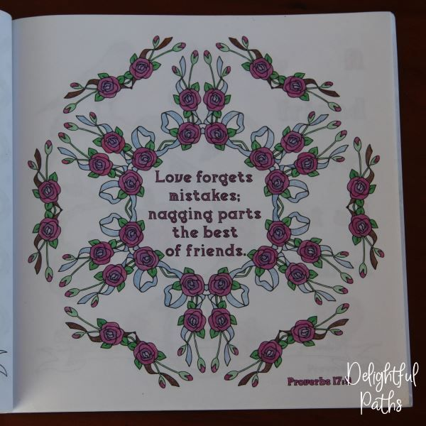Proverbs adult coloring book from Delightful Paths Proverbs 17:9 NLT