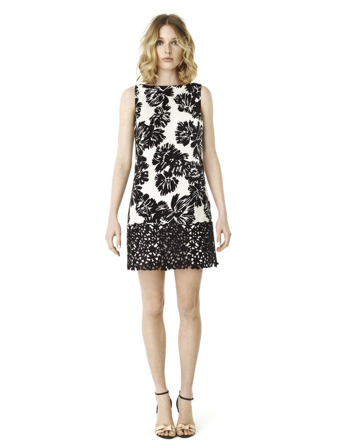 ELLE by RW&CO.   Printed shift dress with laser cut scuba lace   Summer 2015